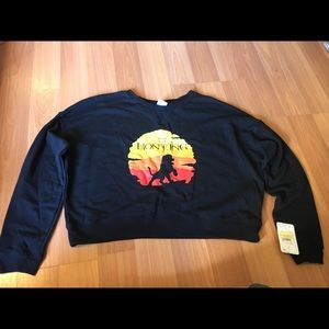 Lion King black cropped pullover sweater XL